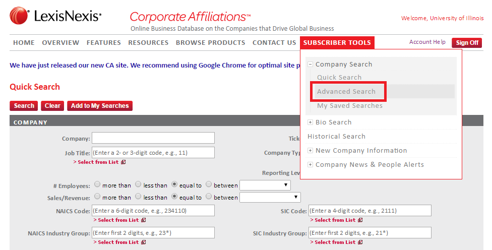 LexisNexis corporate affiliations advanced search