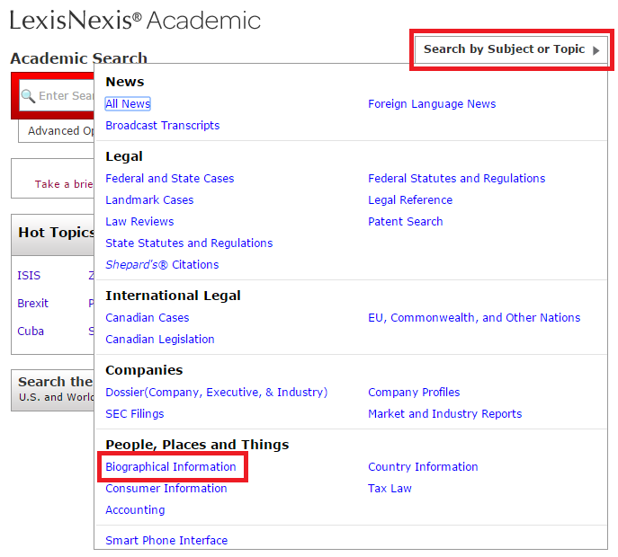 LexisNexis news and biographical information