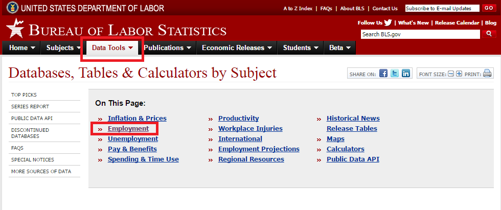 Bureau of Labor Statistics data tools