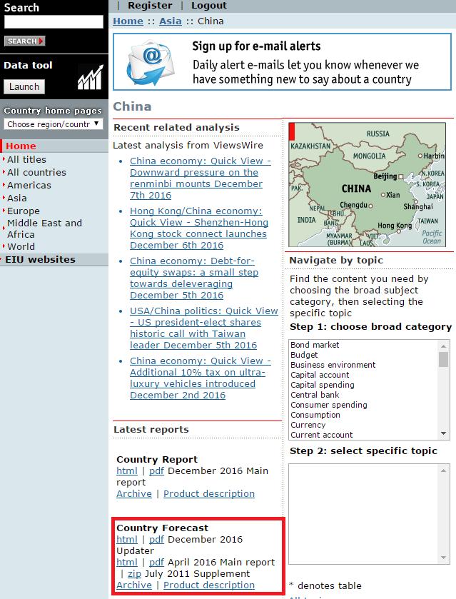 EIU Country Intelligence search