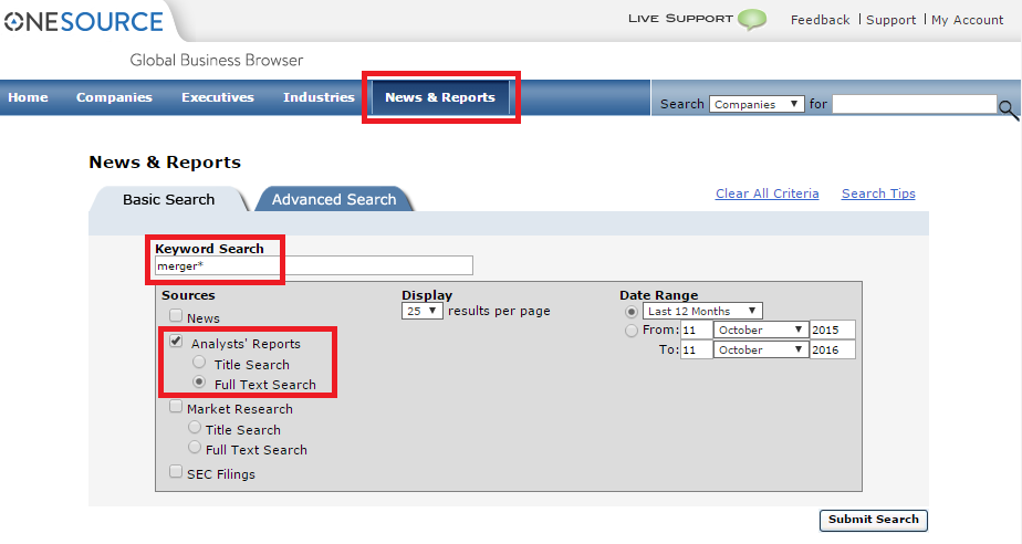 OneSource News and Reports keyword search