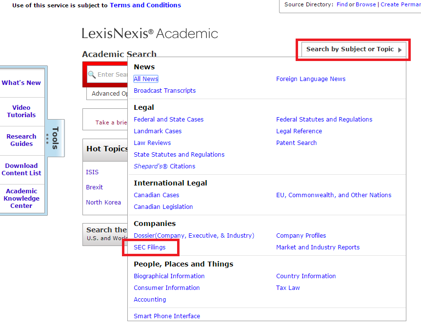 LexisNexis search by subject or topic