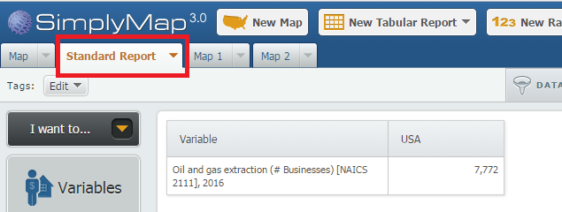 SimplyMap Standard Report search