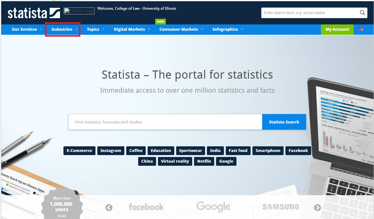 Statista industries search