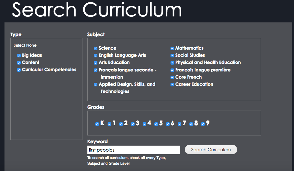 Search the new BC Curric for First Peoples