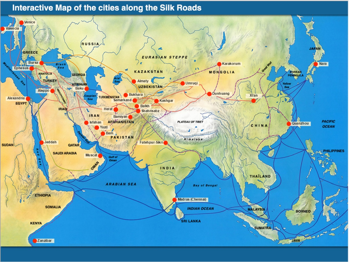 Silk road music tibet and china opening doors to the world interactive map of the cities along the silk roads gumiabroncs Image collections