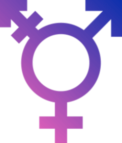 A transgender symbol combining the male and female symbols, shading from pink to blue.