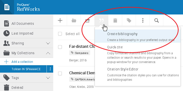 Picture of selecting the Create Bibliography option