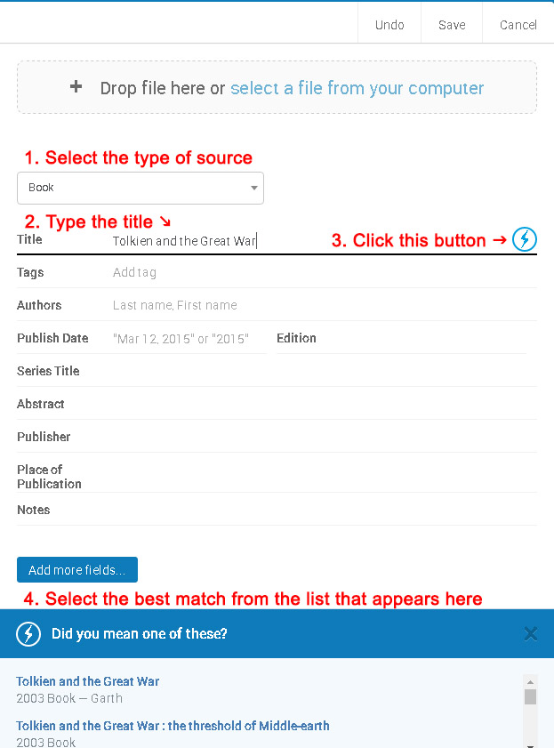 Picture explaining the steps: 1. Select type of source, 2. type the title, 3. Click the lightning bolt button to search for the info, and 4. Select the matching title from the list