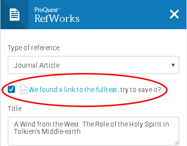 "Picture of the checkbox for the option, ""we found a link to the full text, try to save it?"""