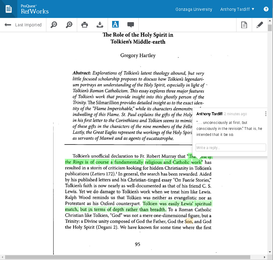 Picture of highlighting and annotations in the full-text view inside RefWorks