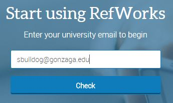 Picture of entering a Gonzaga email address