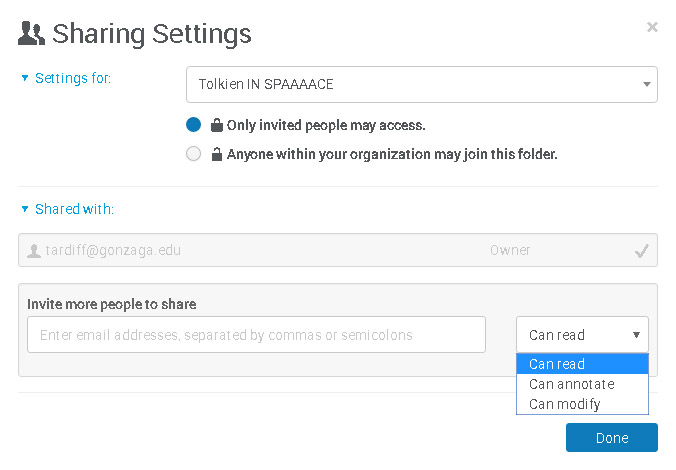 Picture of the dialog box for setting Sharing Settings for a folder