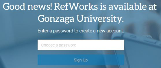Picture of RefWorks asking for a password to be created