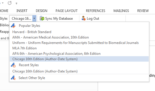 Drop-down menu for citation styles in RefWorks in Word