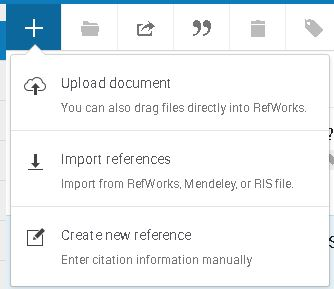 Picture of the Refworks menu for adding citations manually