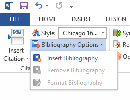 Bibliography options in RefWorks