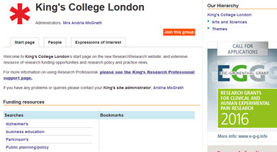 screenshot of research professional