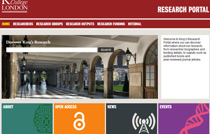 Screen shot of the Research portal