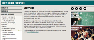 copyright support webpages screenshot