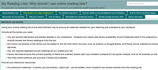 Reading Lists - New Staff Guide - LibGuides at King's College London