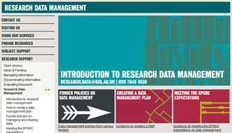research data management webpages screenshot