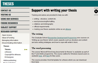 support with writing your theses webpage screenshot