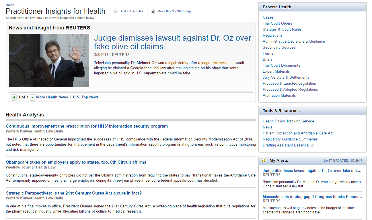 Westlaw Practitioner Insights for Health