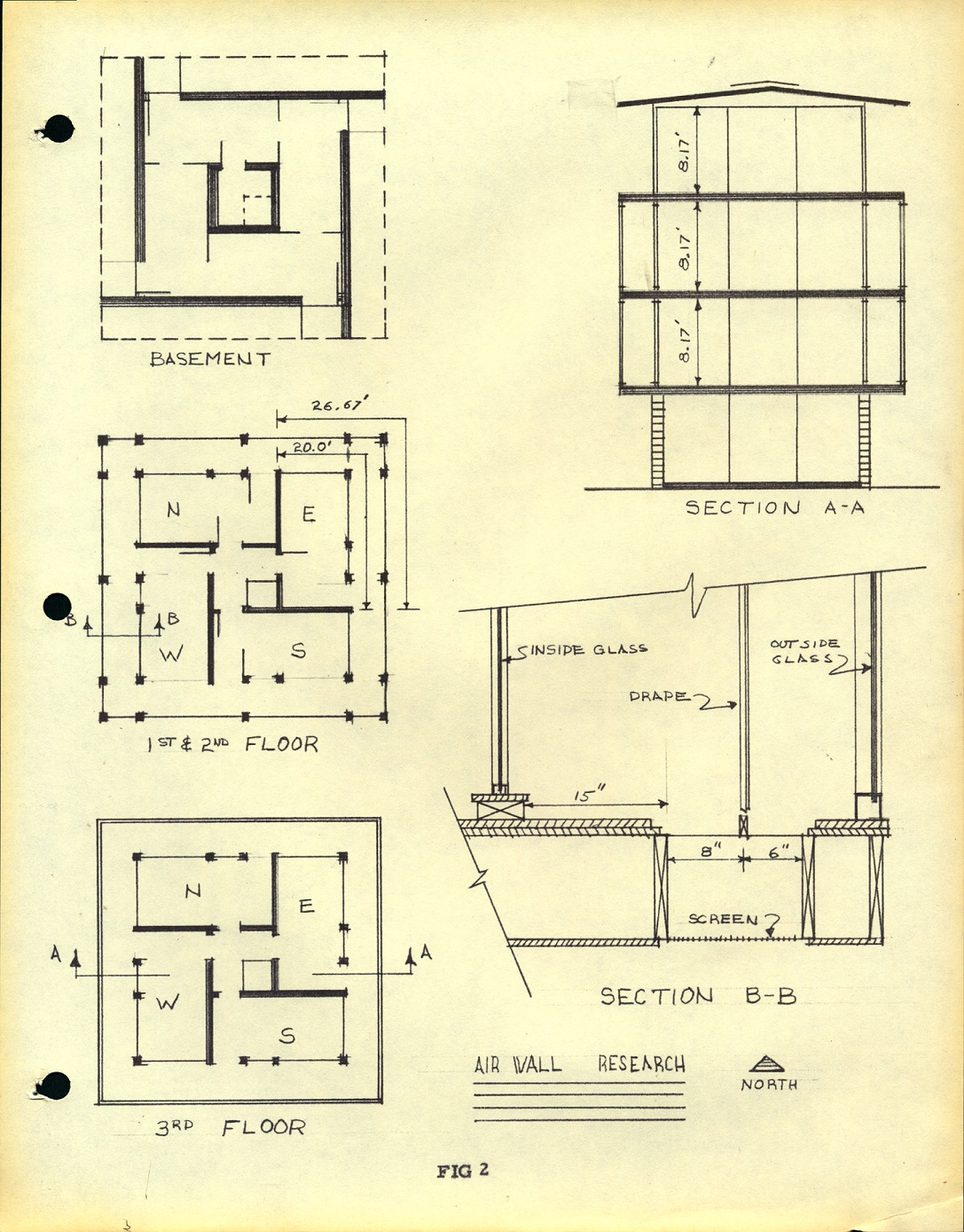 architecture sketches of house with plans of basement, three floors, and cross sections