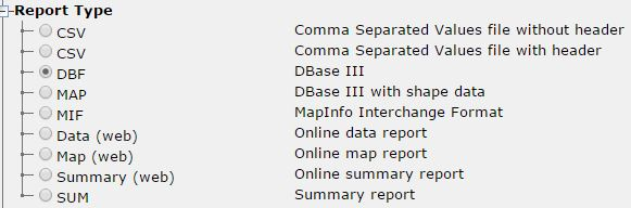 "A screen capture of the ""Report Type"" drop down menu. The options are as follows: CSV (Comma Separated Values File without header), CSV (Comma Separated Values file with header), DBF (DBase III), Map (DBase III with shape file), MIF (MapInfo Interchange Format), Data (web) (Online data report), Map (web)(Online map report), Summary (web)(Online summary report), SUM (Summary report). DBF is selected."