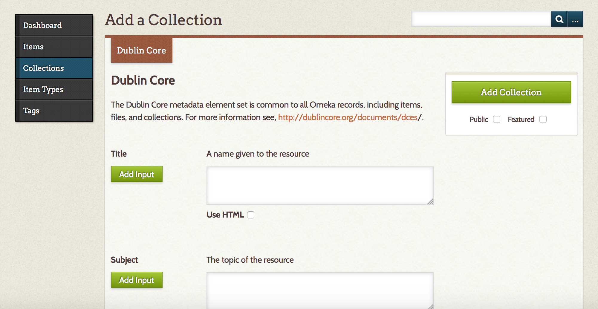 "On the ""Add a Collection"" prompt, the only tab is for Dublin Core metadata."