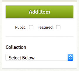 "Beneath the ""Add Item"" button are boxes to select whether the item will be public or featured and a drop-down list to sort it into a collection."
