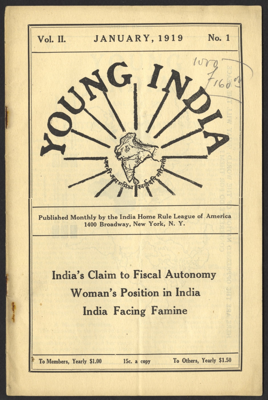 "Front cover of ""Young India"" which was written and edited by Gandhi. The image in this cover shows the South Asian subcontinent surrounded by ""Young India"". Dated January 1919. Text below image states the article titles ""Indias Claim to Fiscal Autonomy"", ""Woman's Position in India"", and ""India Facing Familne"""