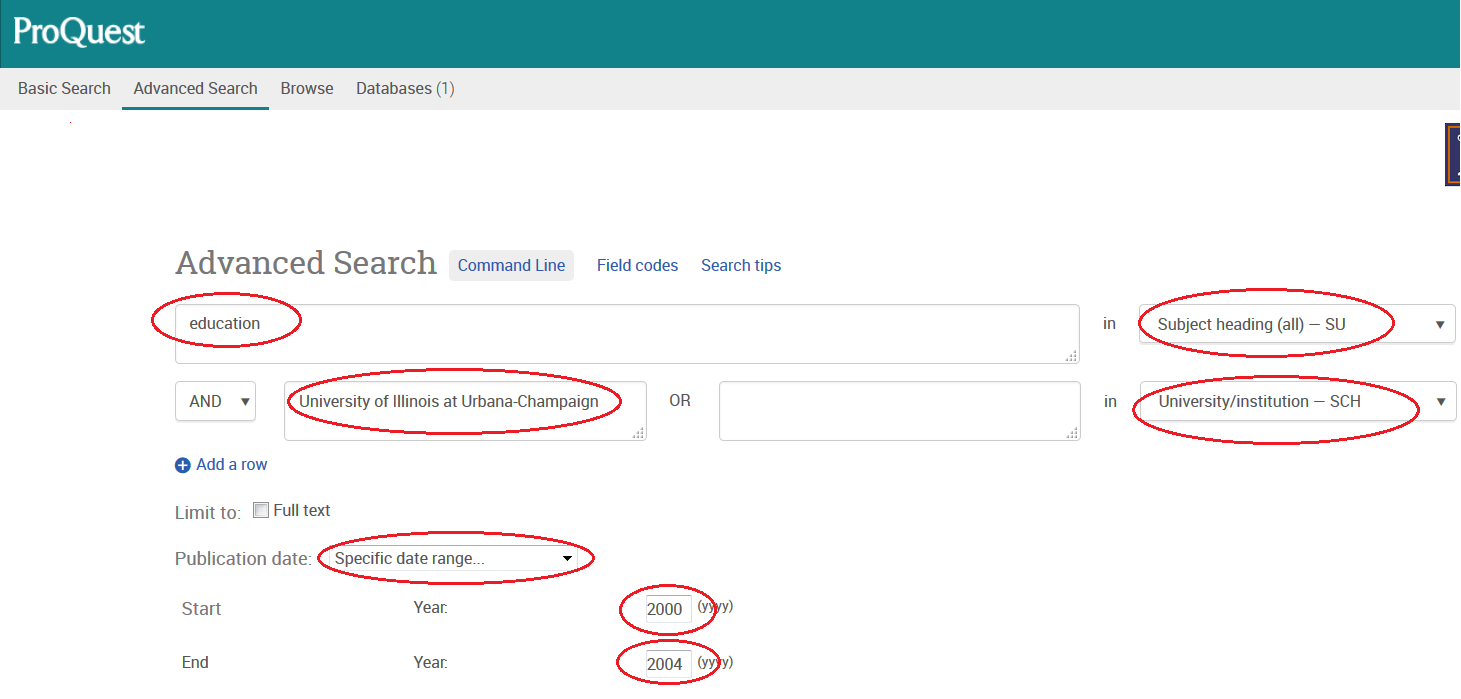 Screenshot of example search for education dissertations at UIUC