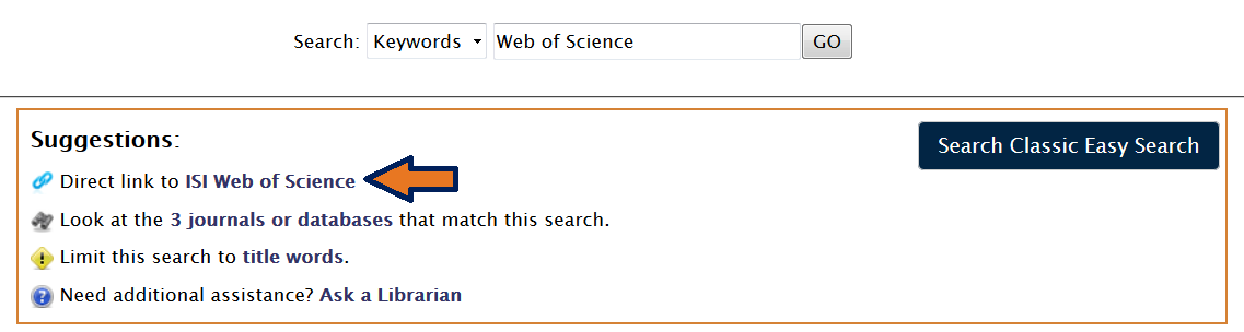 This image is a screensot of a direct link to Web of Science in the EasySearch results page of the University Library website.