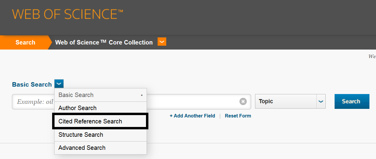 This image is a screenshot of the drop-down menu where users can access the cited reference search in Web of Science.