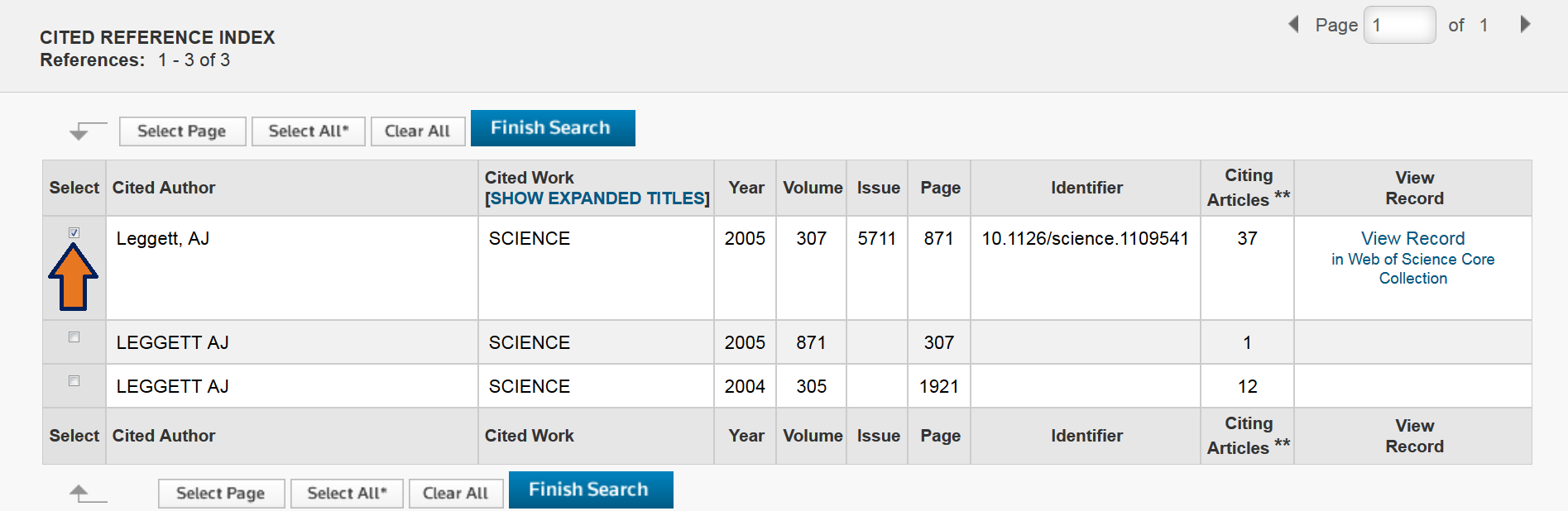 This image is a screenshot of the Cited Reference Search results page where you can select the cited reference.