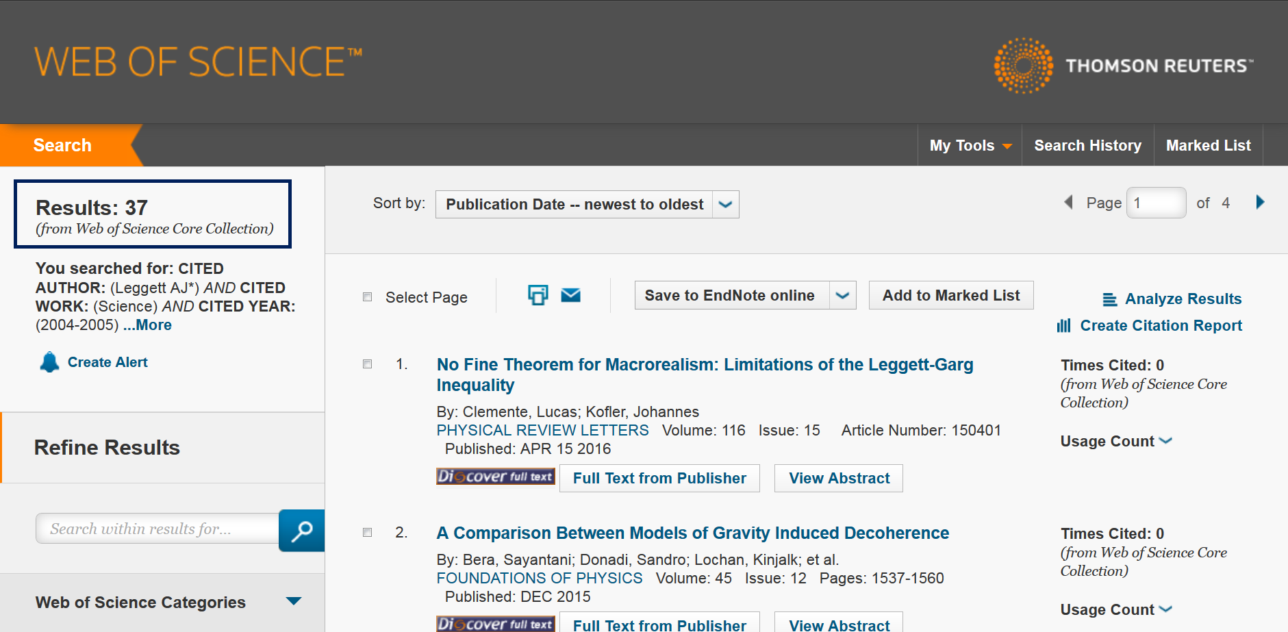 This image is a screenshot of the Cited Reference Search results page with a list of articles that cite the reference.