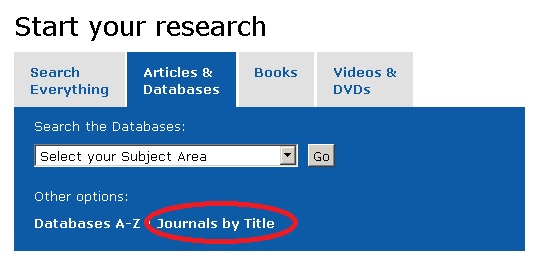 Journals by Title link