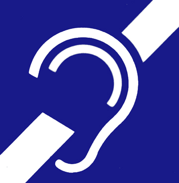 International symbol for deaf or hard of hearing. A symbolized white ear on a blue background.