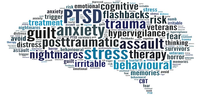 A wordle shaped like a brain made of PTSD keywords