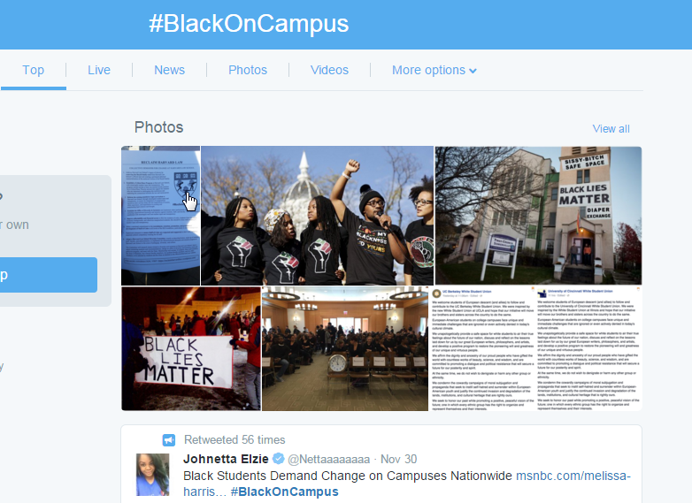 Screet shot of #BlackOnCampus page from Twitter