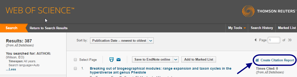 """Link to """"Create Citation Report"""" in Web of Science results"""