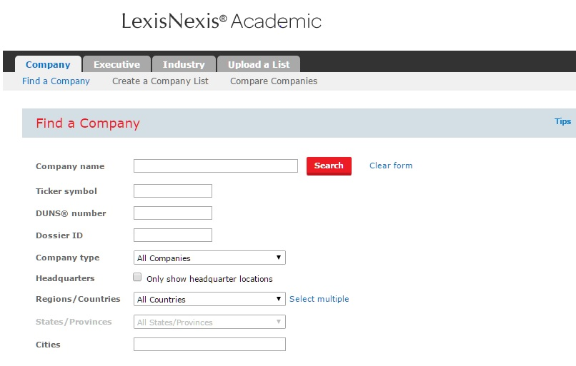 Company Dossier from Lexis-Nexis Front Page