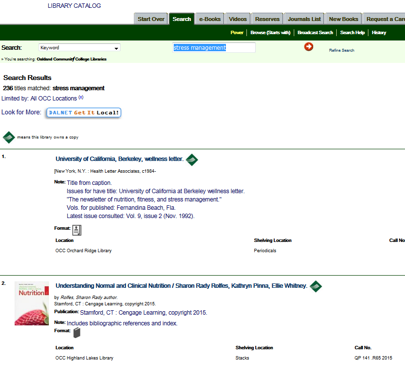 "Catalog search results for ""stress management"""
