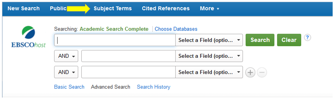 "This image shows the location of the ""Subject Terms"" link on the main menu of Academic Search Complete."