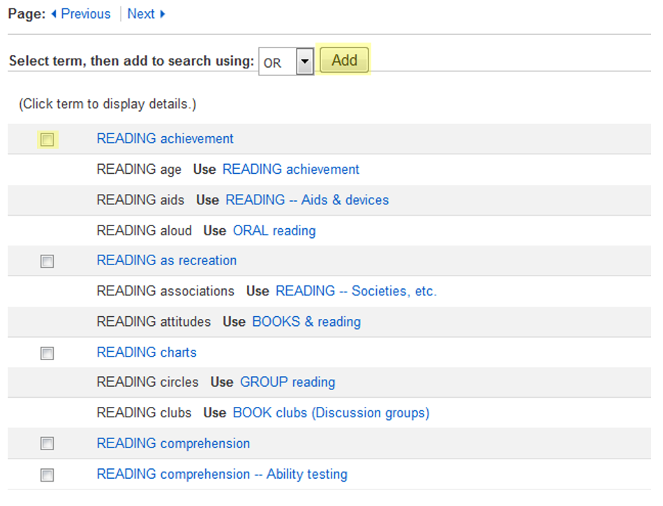 "This image shows the subject heading ""Reading Achievement,"" as well as the location of the check-box to select it, and the button to add it to the search."