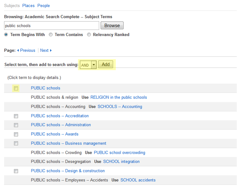 "This image shows a subject search for ""public schools"" with the options to select and add highlighted."
