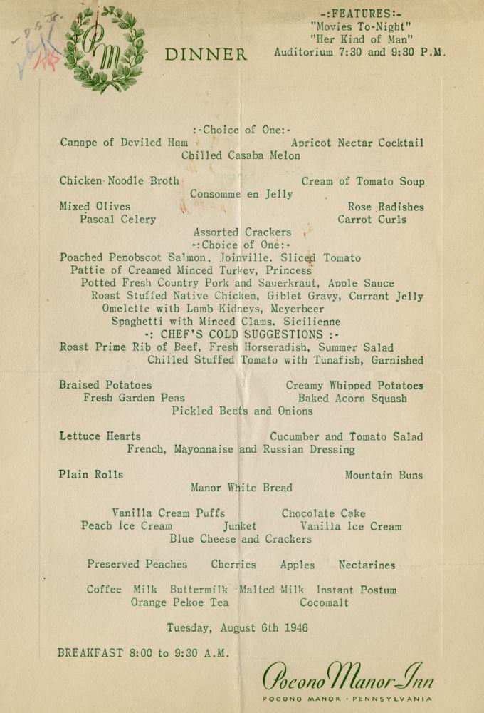 Pocono Manor Inn menu