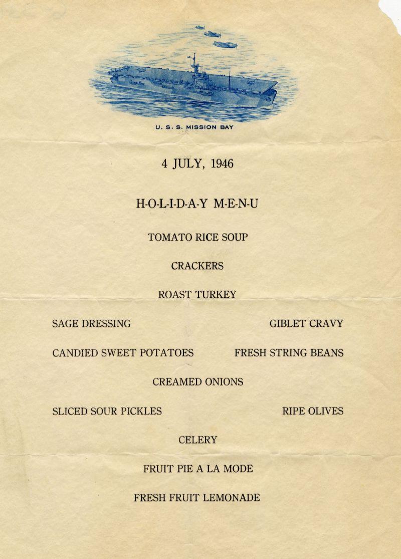 USS Mission Bay menu
